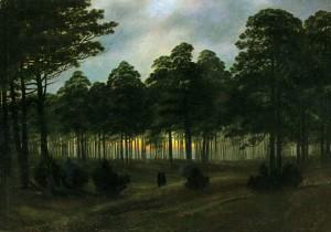 Caspar David Friedrich, Il ciclo delle ore del giorno, la sera - Tageszeiten-Zyklus: Der Abend, 1821 ca.  Olio su tela, 22 × 30,5 cm Hannover, Niedersächsisches Landesmuseum