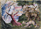 BLAKE - Illustrations to Dante - Dante Running from the Three Beasts thumbnail