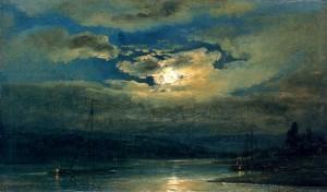 JOHANN CHRISTIAN CLAUSSEN DAHL, <em>Elb Landscape near Dresden in the Moonlight</em>
